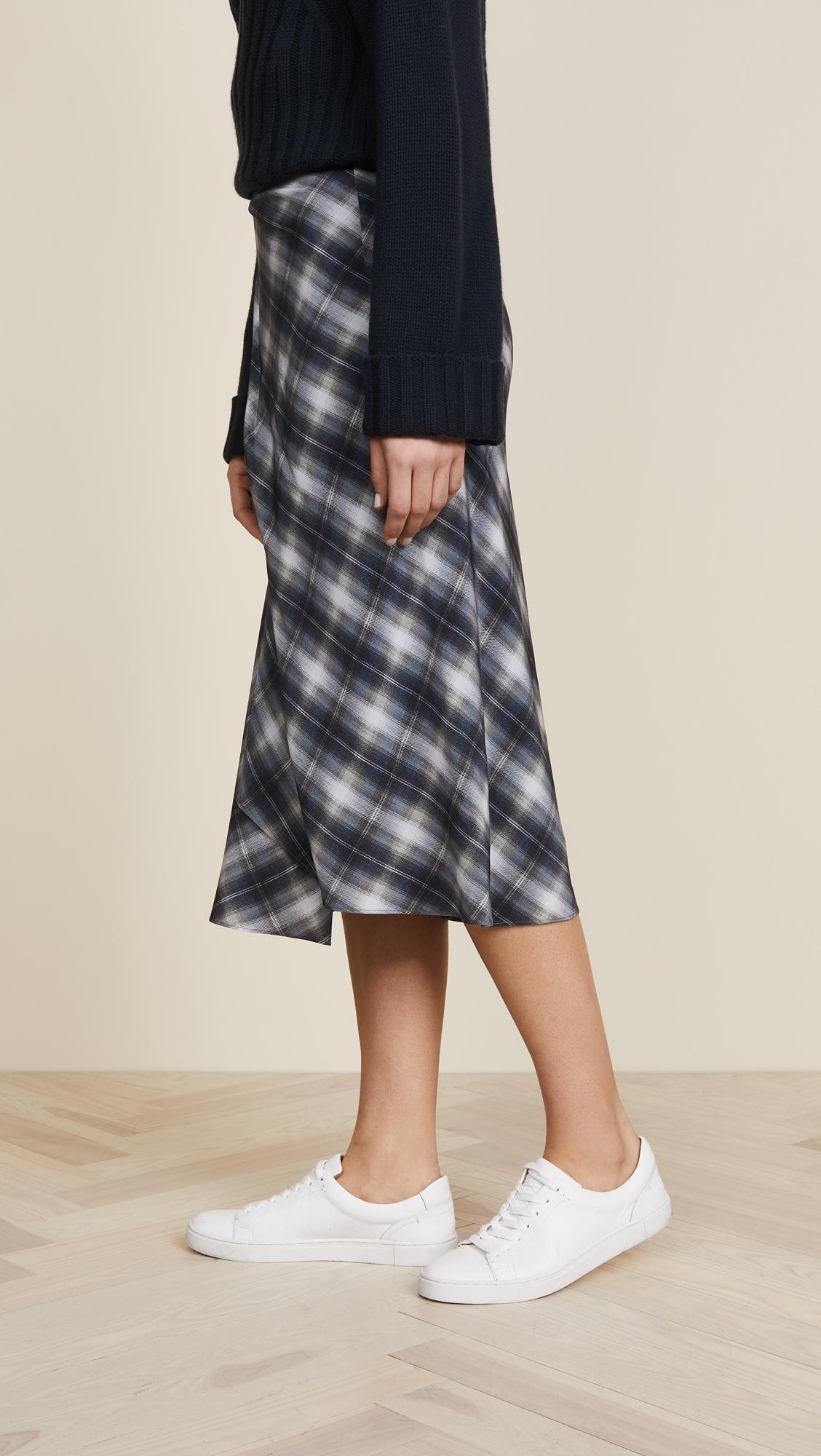 82b1689f7e165c Vince Shadow Plaid Side Drape Skirt   SHOPBOP