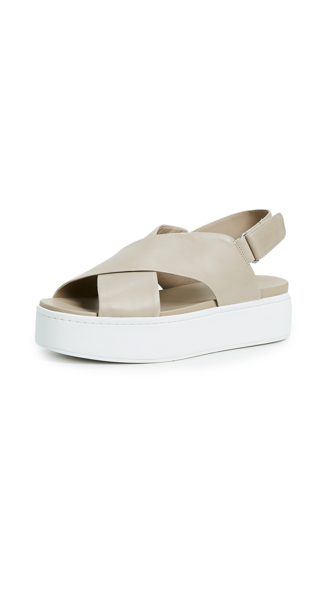 Vince Weslan Crisscross Flatform Sandals - Lt Straw