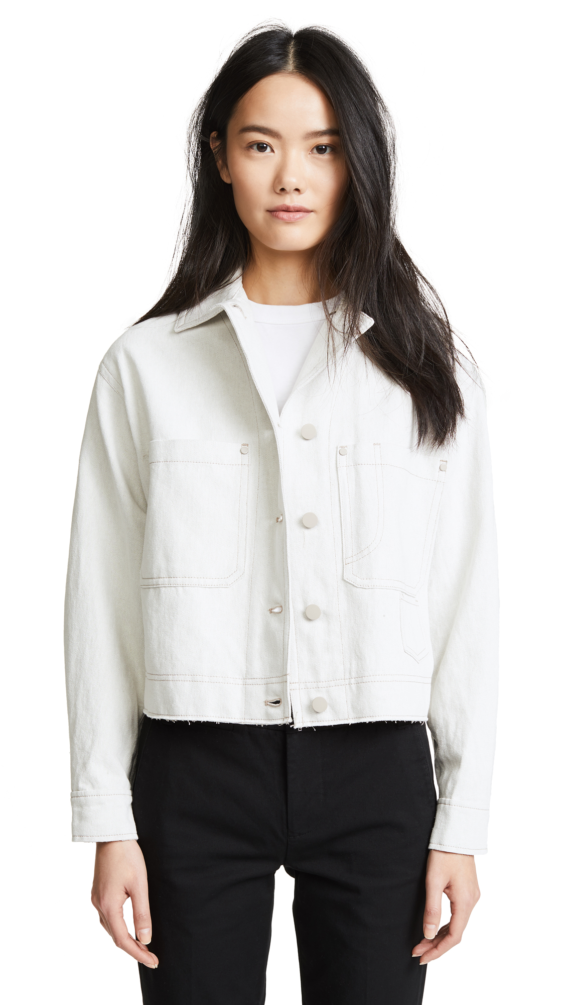 Vince Cropped Utility Jacket In Chalk