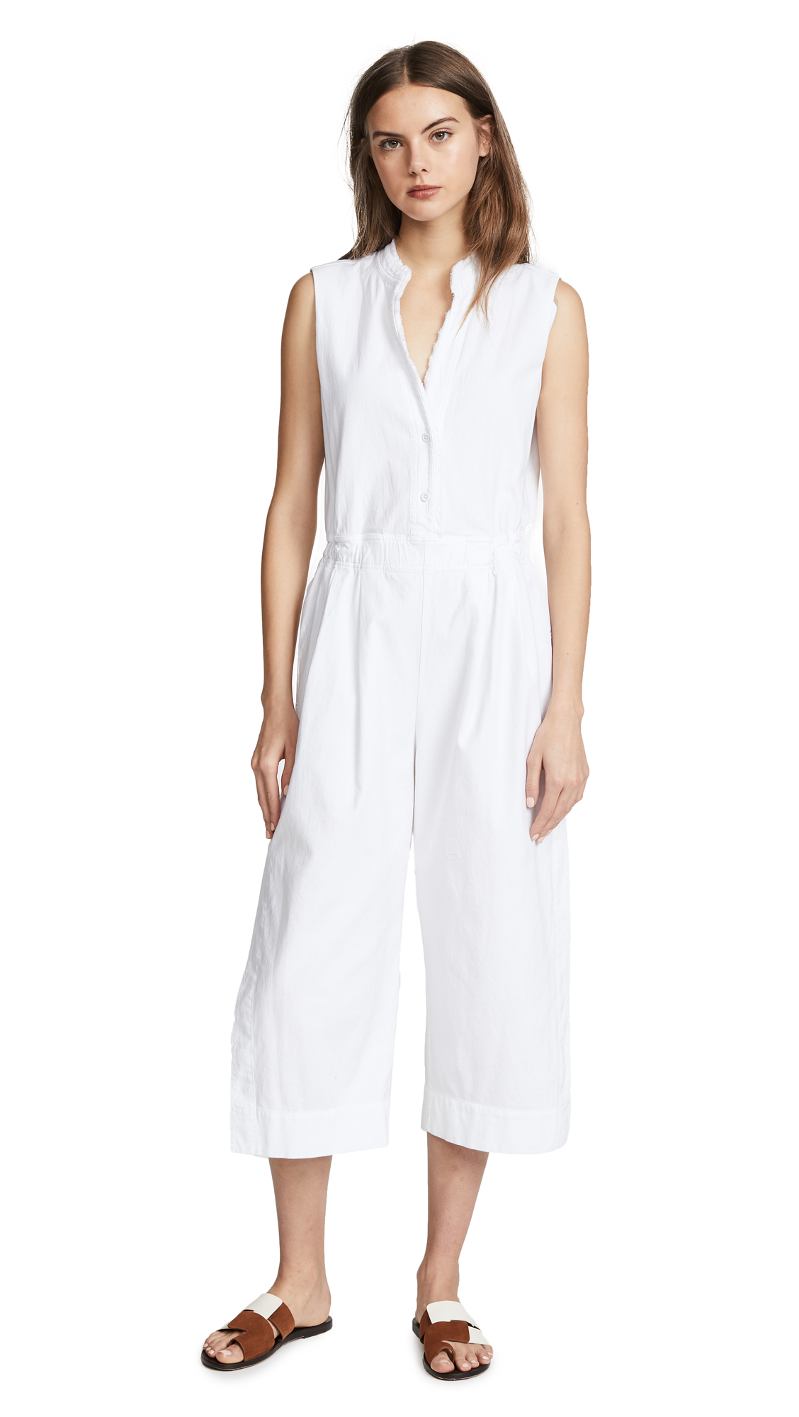 Vince Open Back Jumpsuit In Optic White