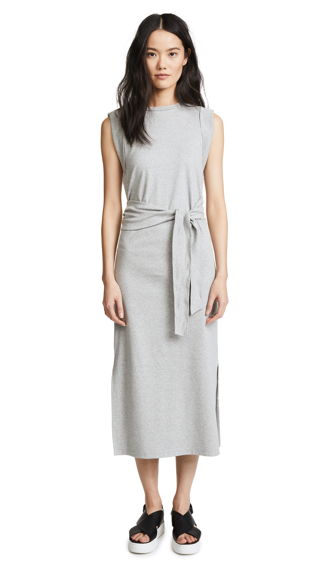 Vince Wrap Waist Dress In Heather Grey
