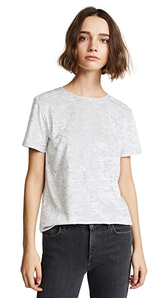 Vince Easy Velour Tee In Light Grey