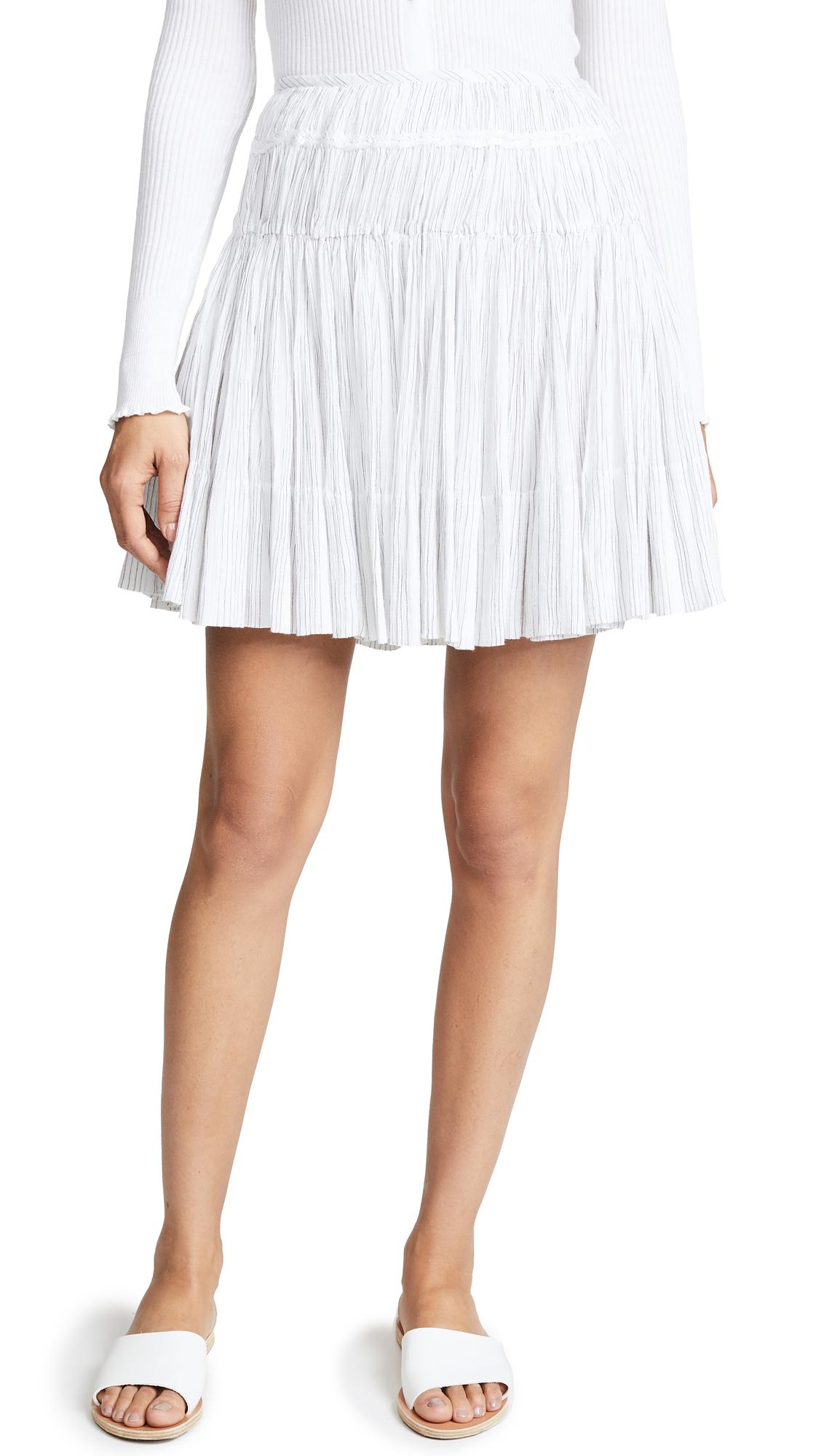 Vince Stripe Pleated Skirt In Optic White/Black
