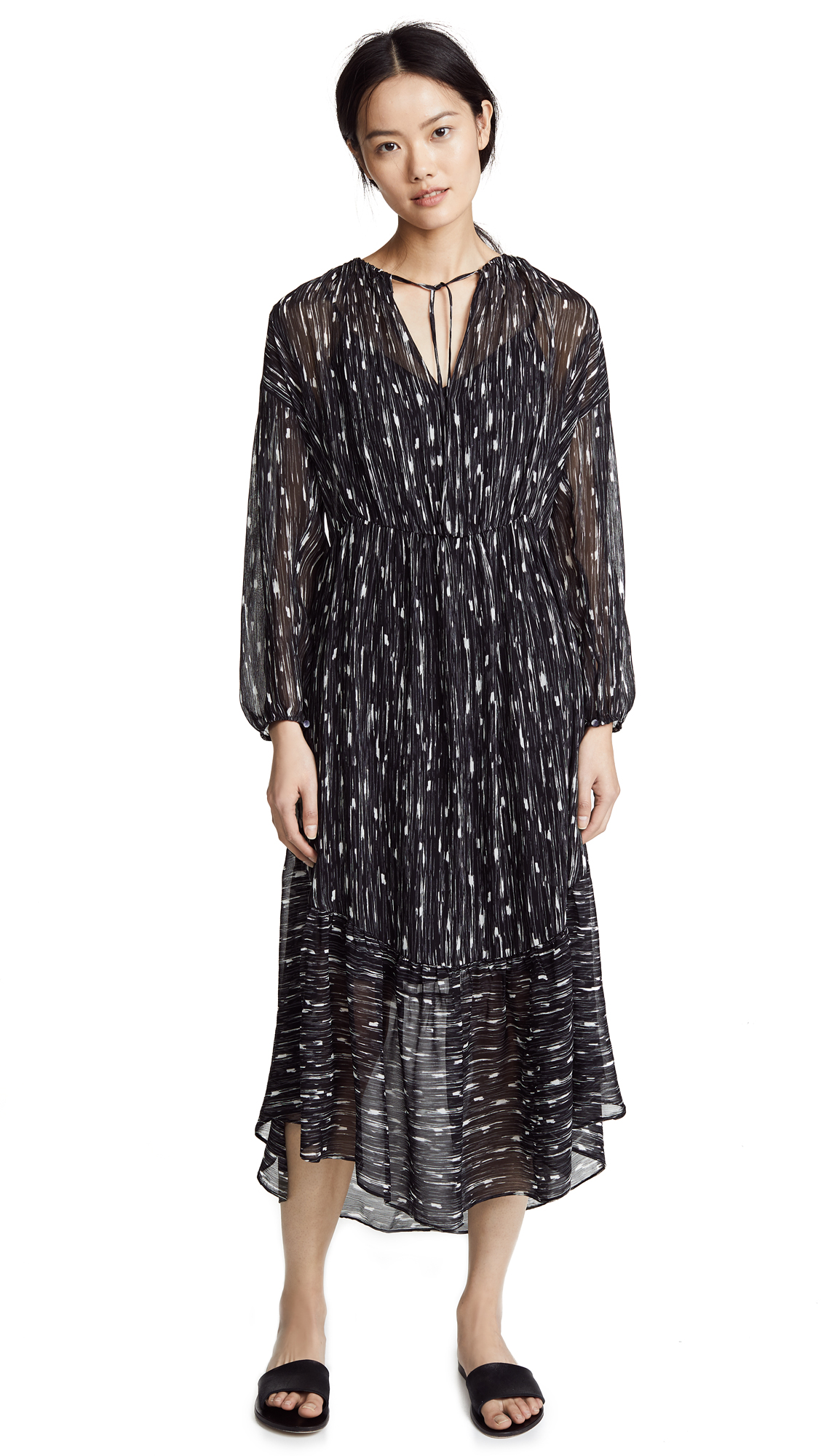 Vince Brushstroke Shirred Dress In Black