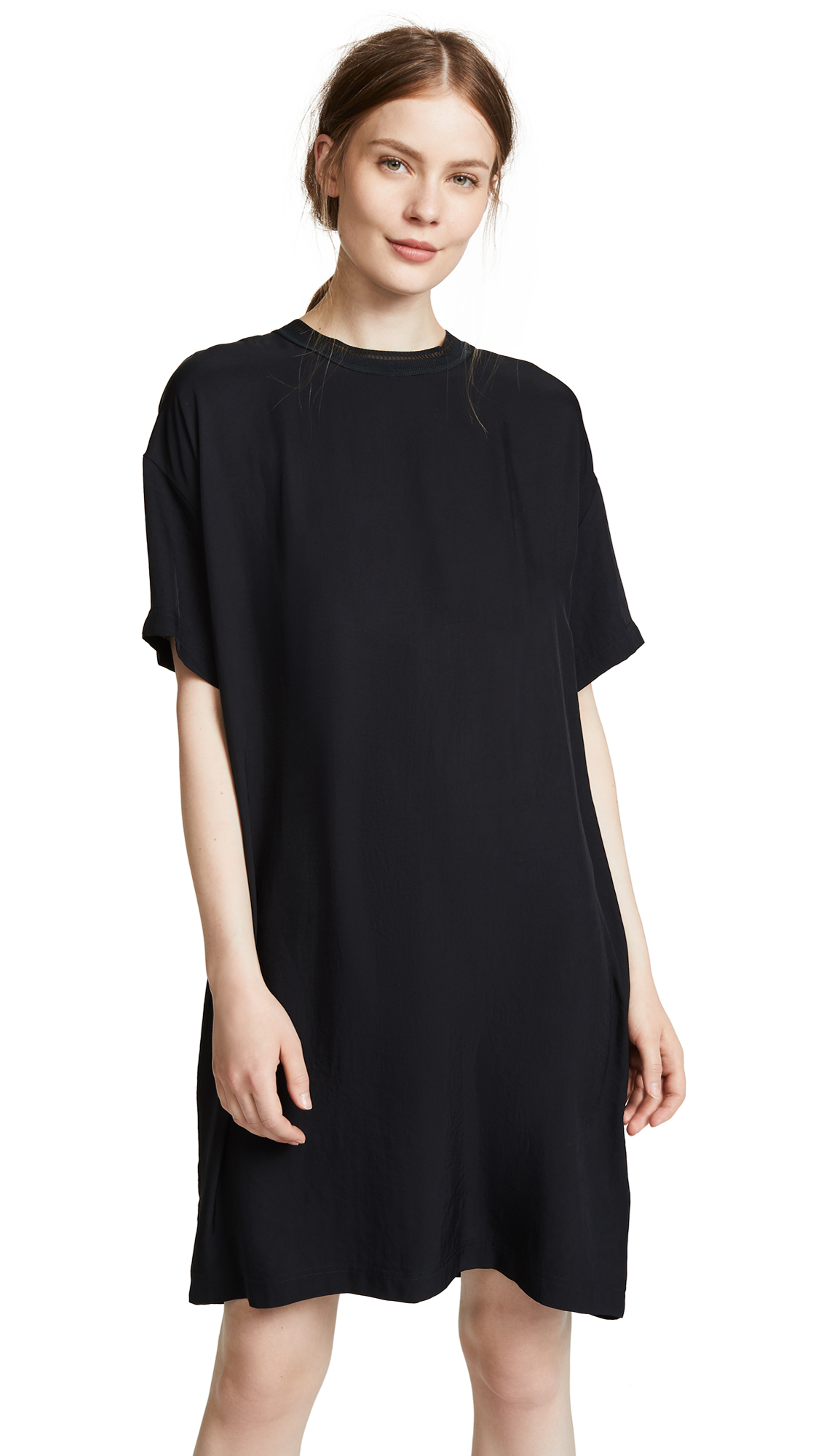 Vince Ribbed Trim T-Shirt Dress In Black