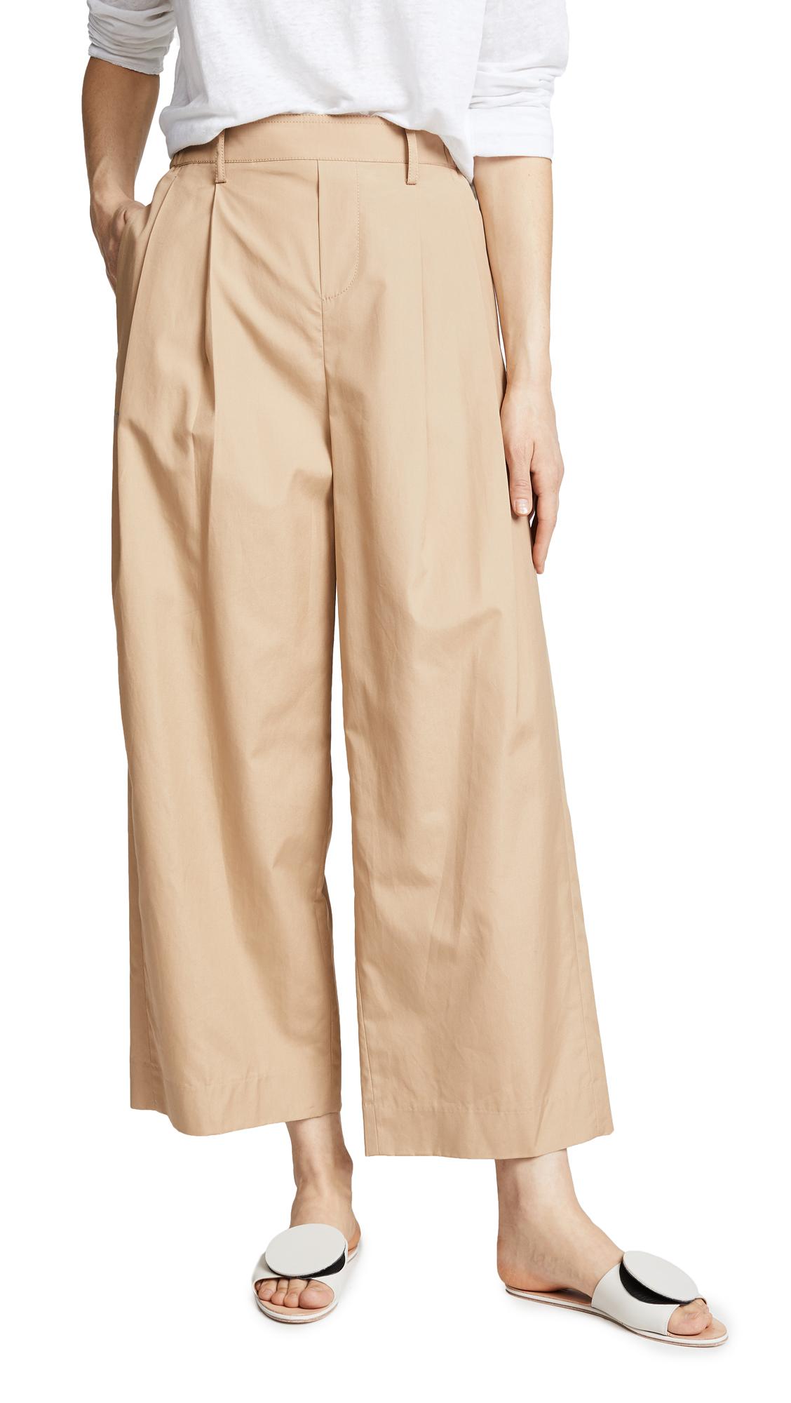 Wide Leg Polished Cotton Pants, Khaki