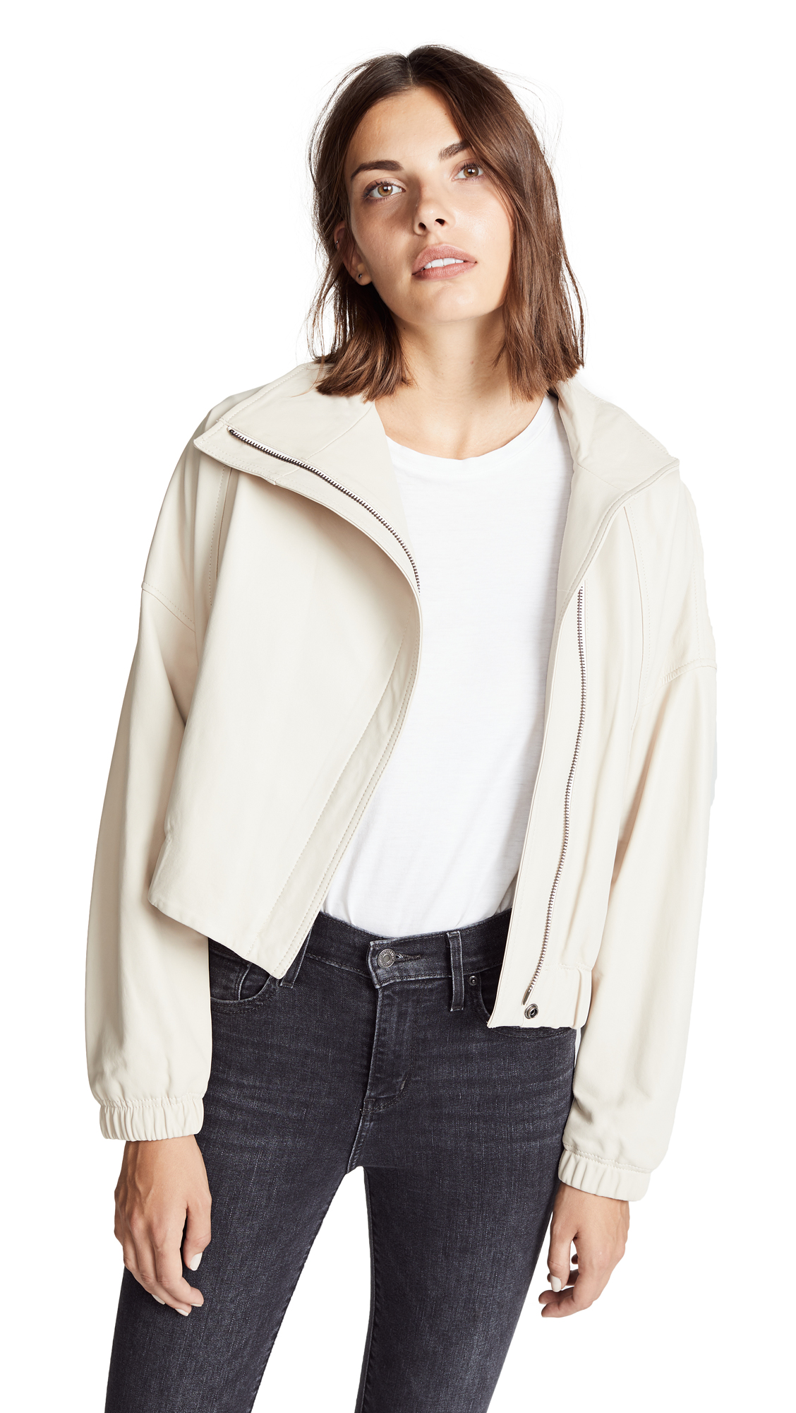 Vince Asymmetrical Leather Jacket In Sandstone