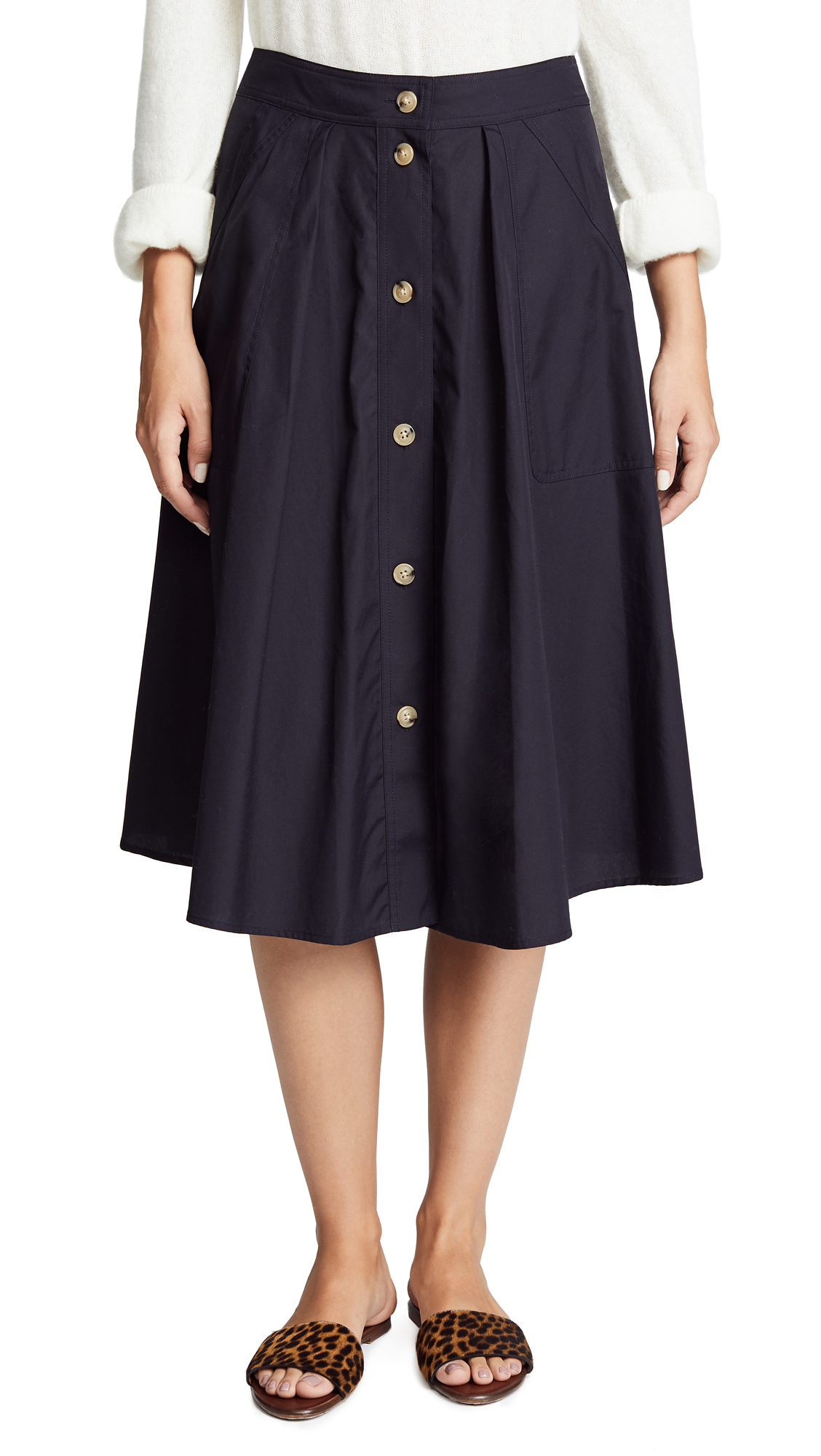 Vince Button Front Skirt In Coastal