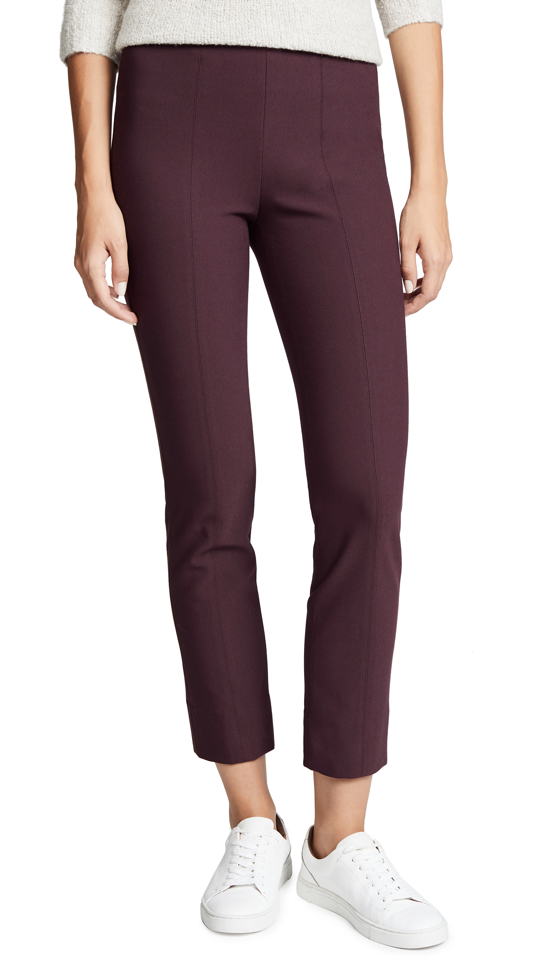 Vince Stitch Front Leggings In Black Cherry