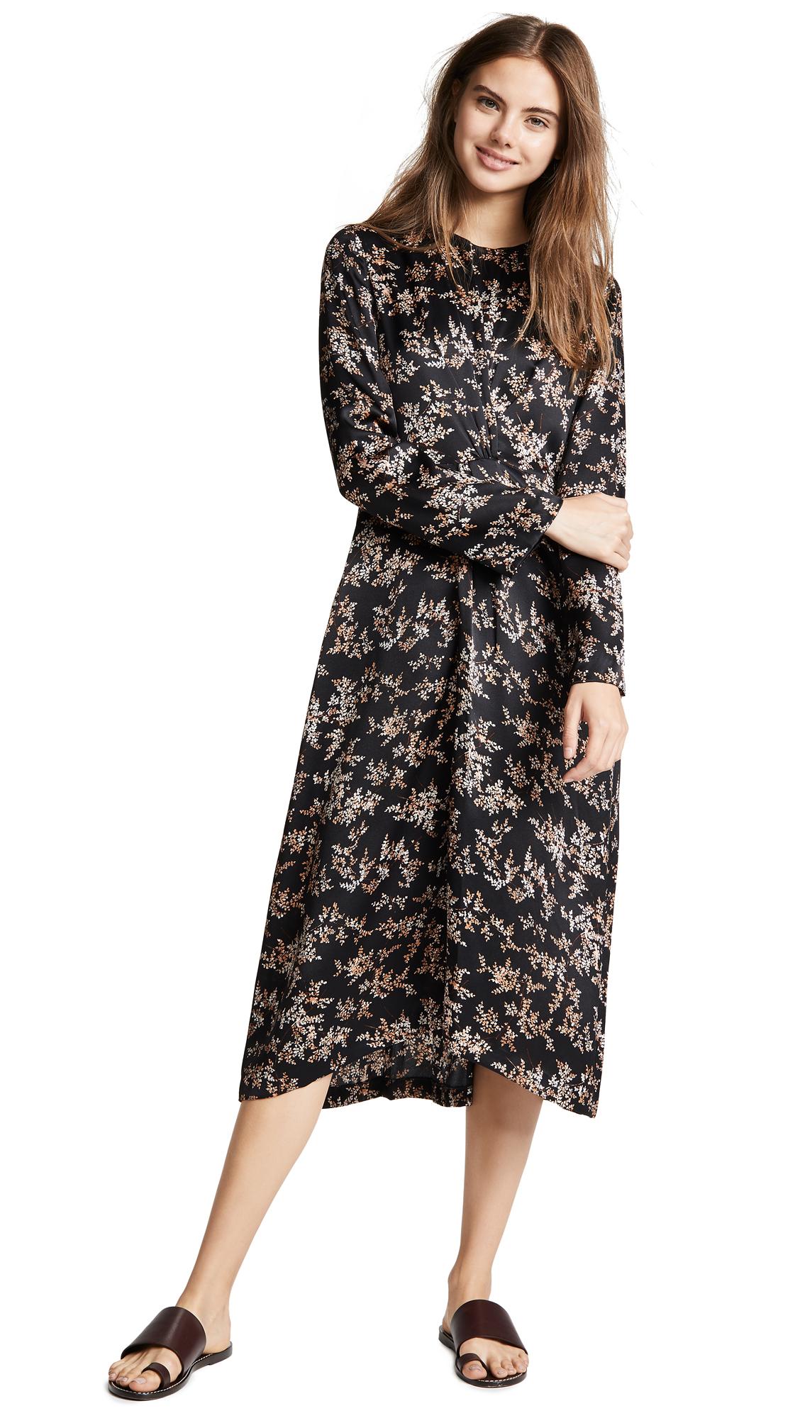 Eden Leaf-Print Twist-Front Silk Midi Dress in Black