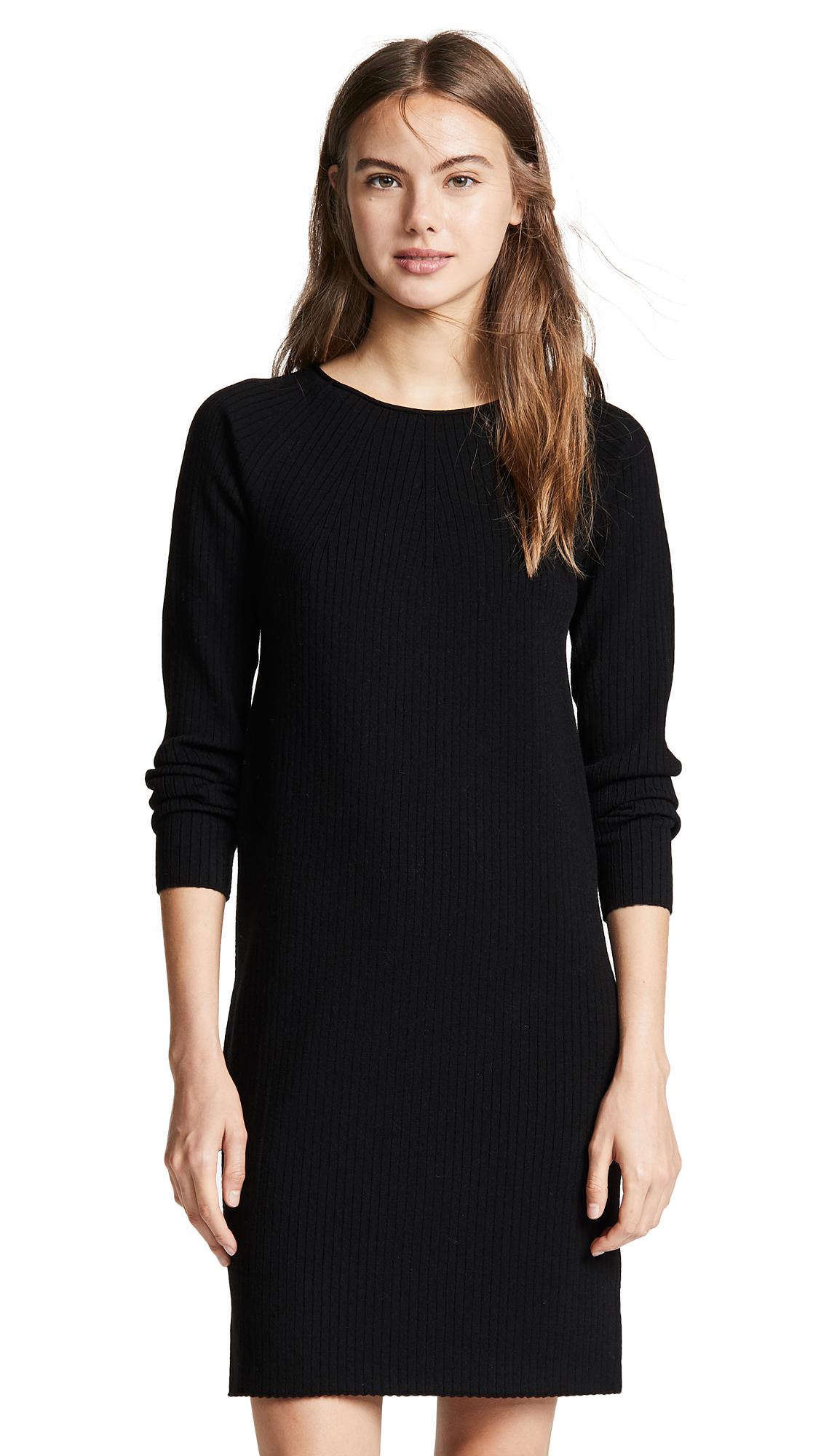 Vince Ribbed Dress In Black