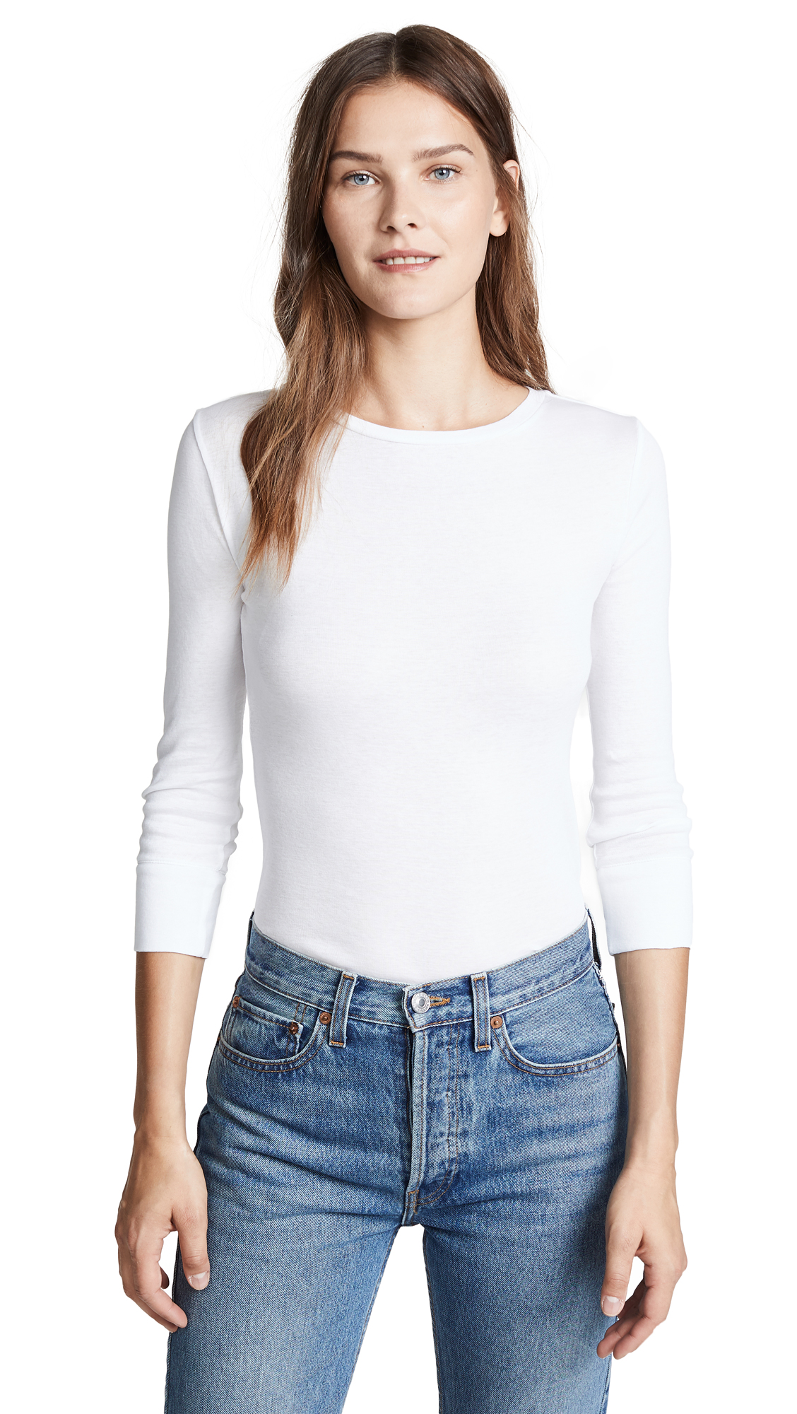 Vince Elbow Sleeve Pullover Top In Optic White