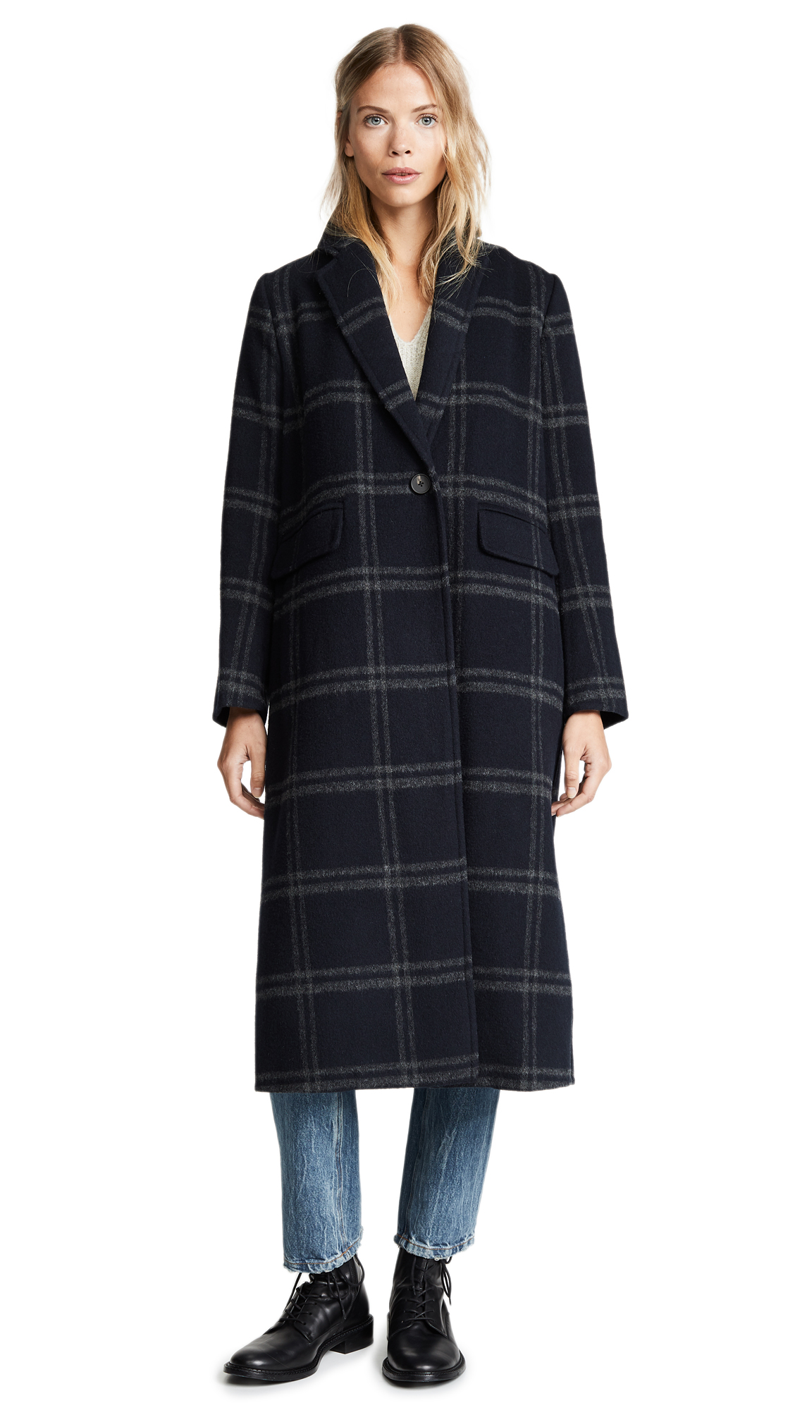 Vince Shadow Plaid Coat In Coastal Grey