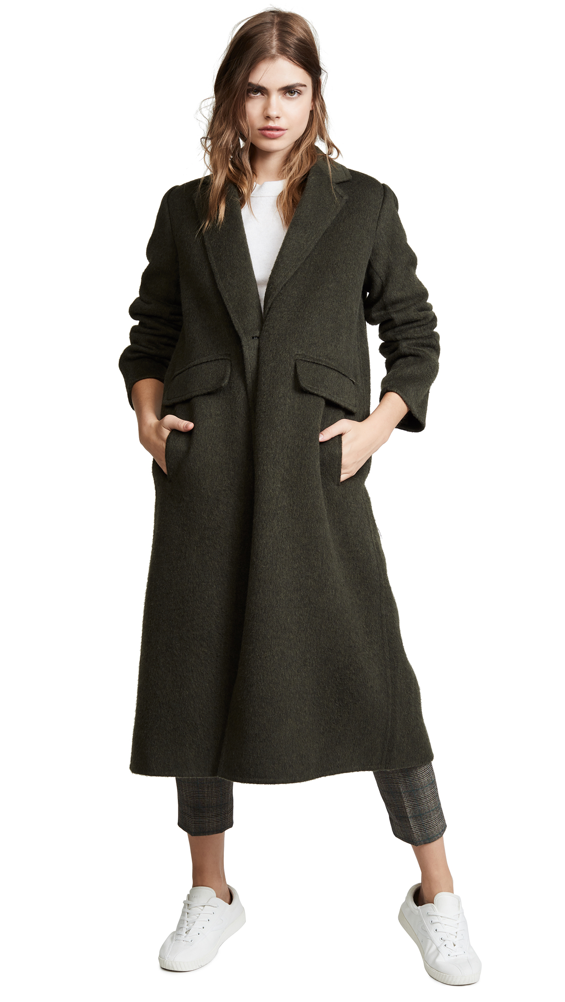 Vince Long Coat In Deep Laurel