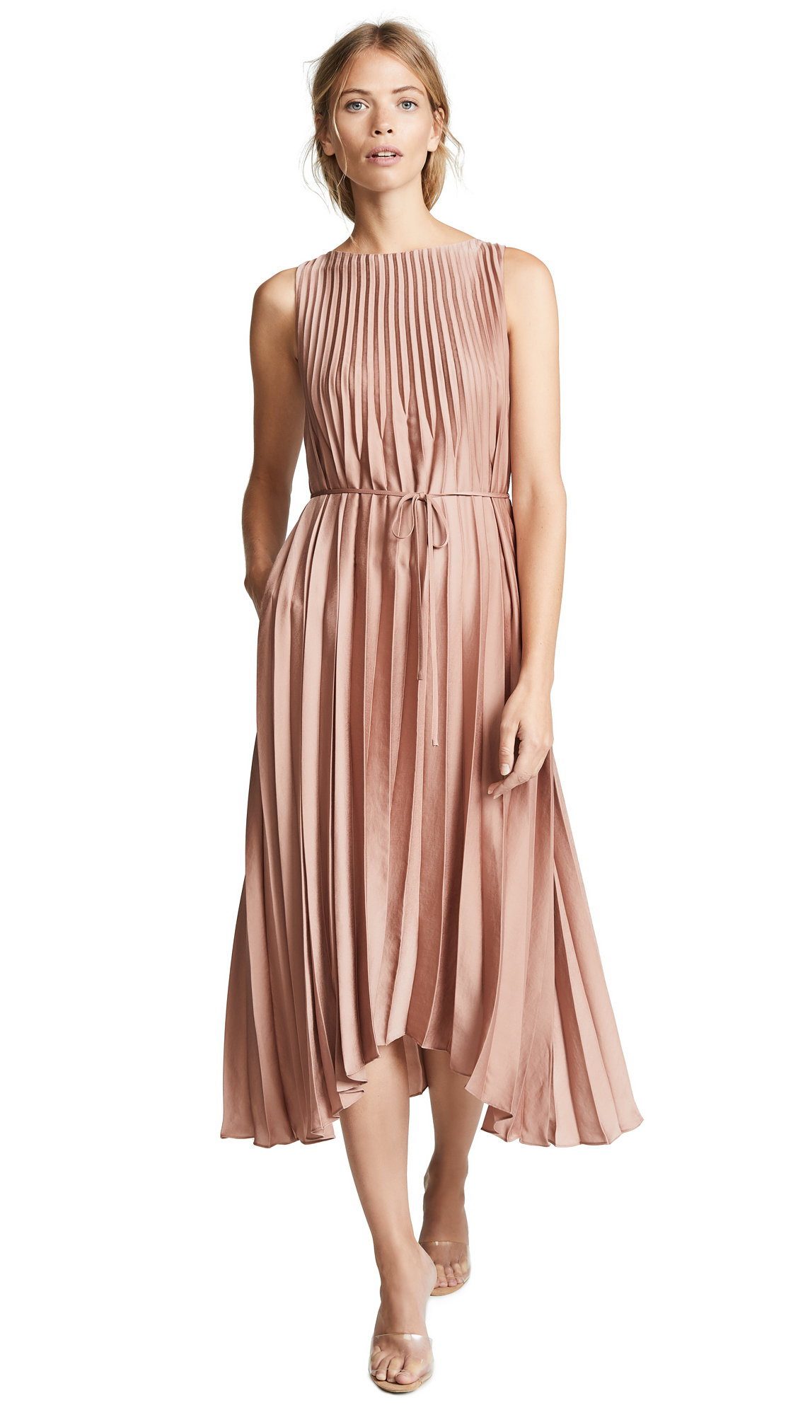 Vince Pleated Dress In Vintage Rose