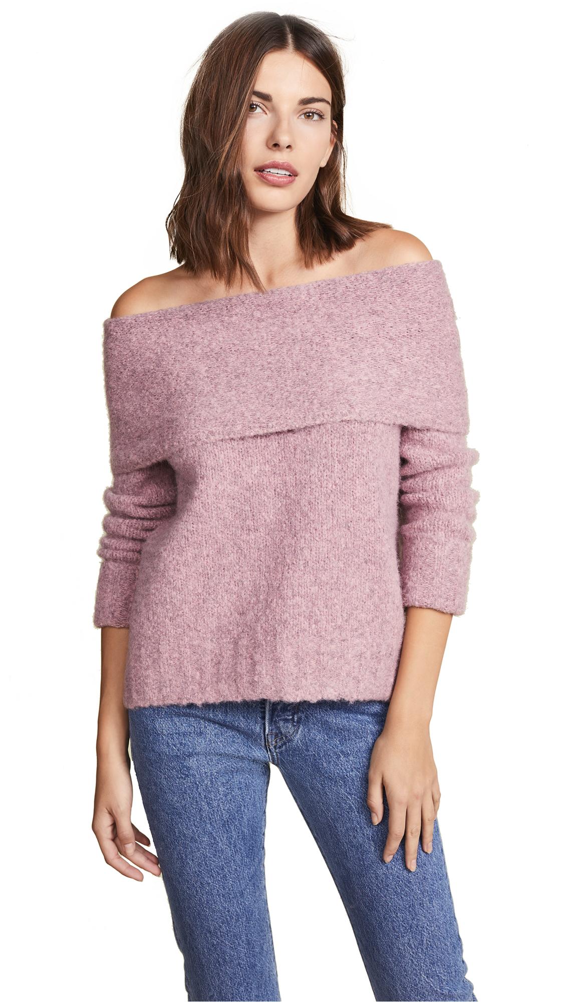 Vince Off Shoulder Pullover Sweater - Soft Pink