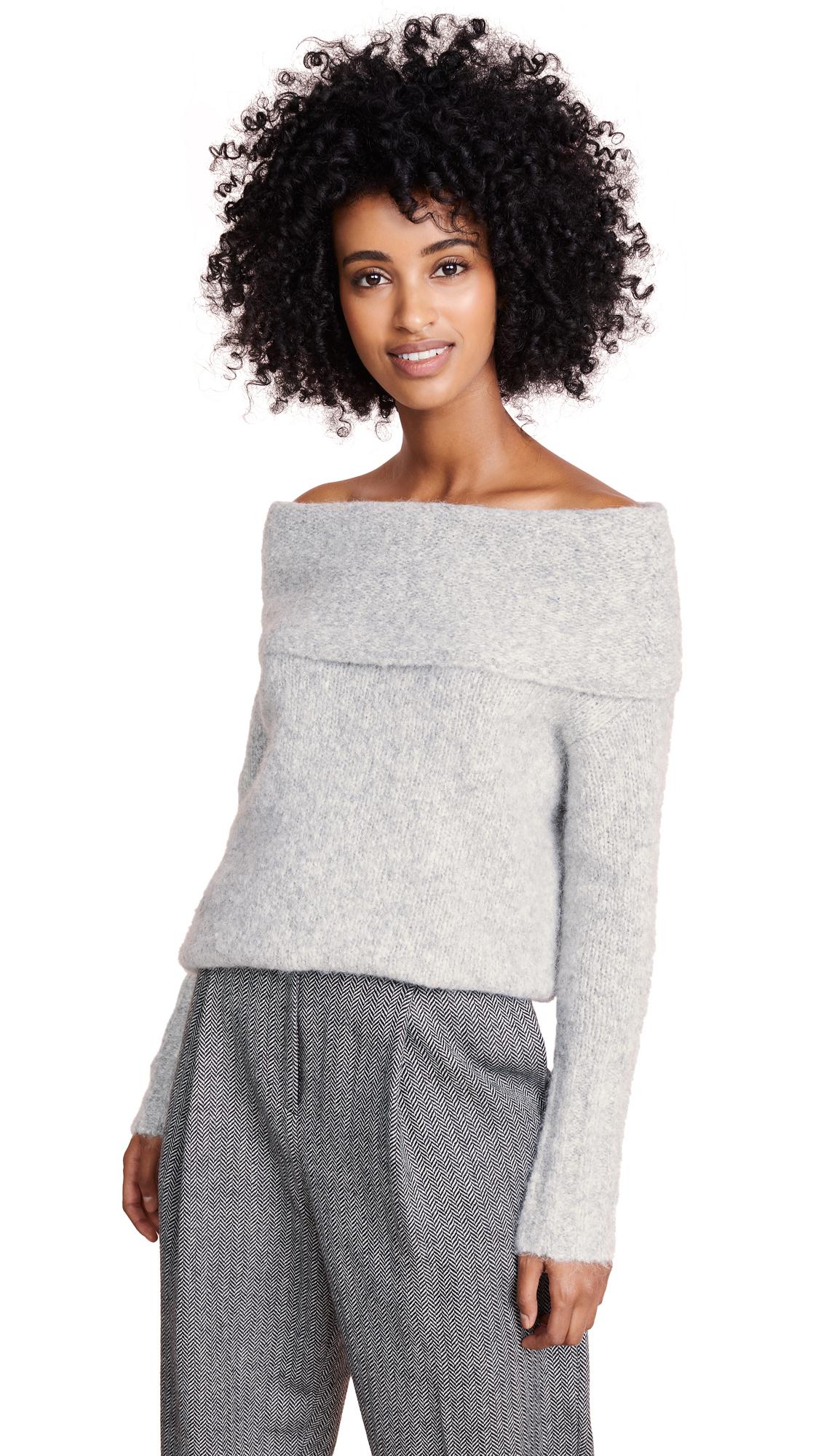 Vince Off Shoulder Pullover Sweater - Soft Grey