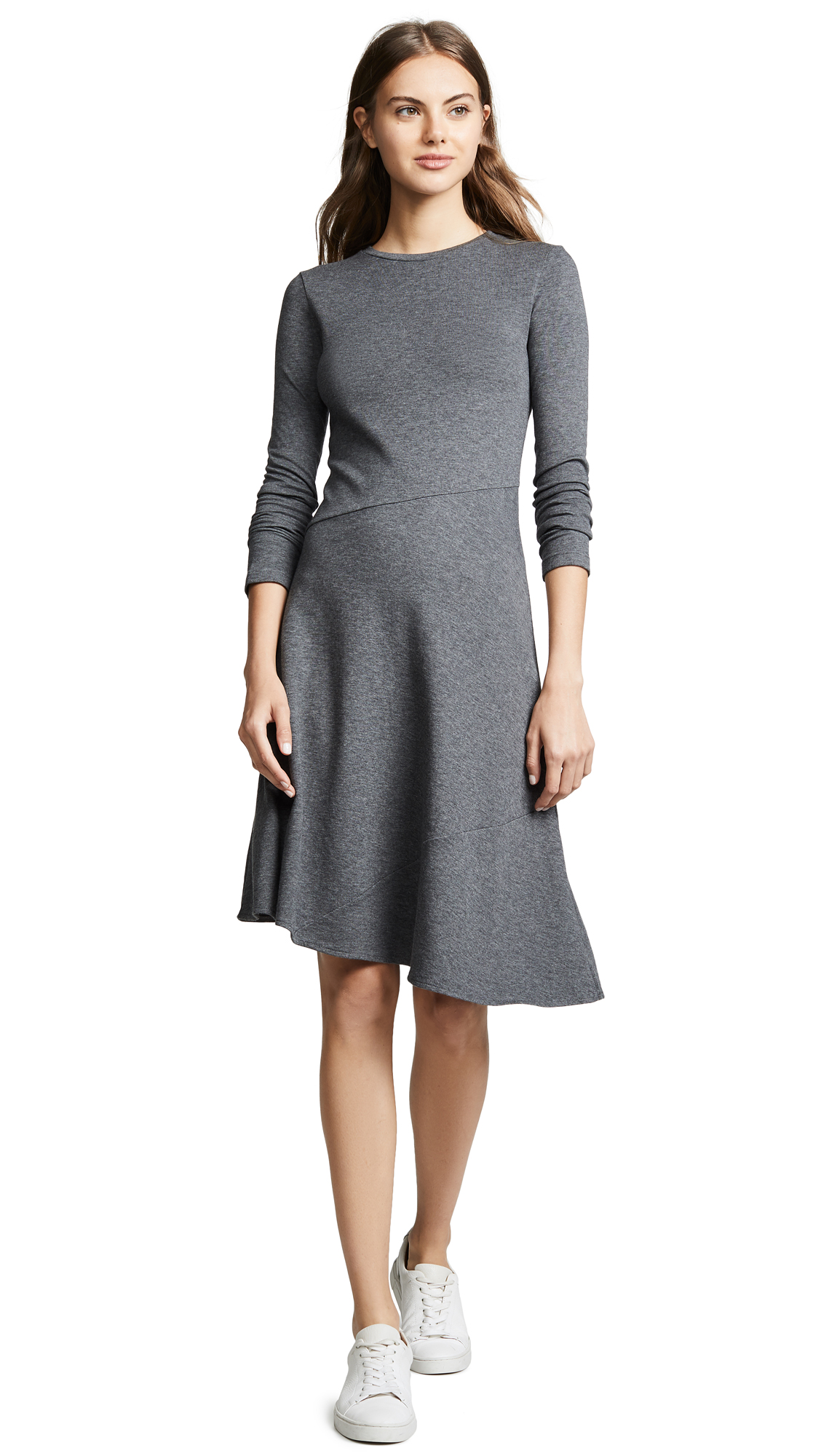 Vince Asymmetric Midi Dress In Heather Charcoal