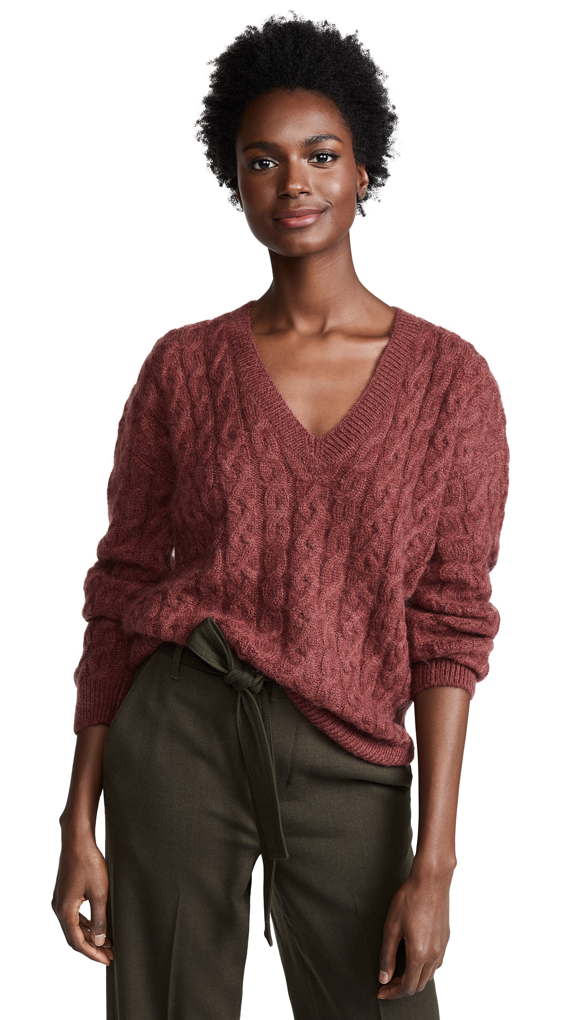 Vince Cable Knit V Neck Sweater In Anise