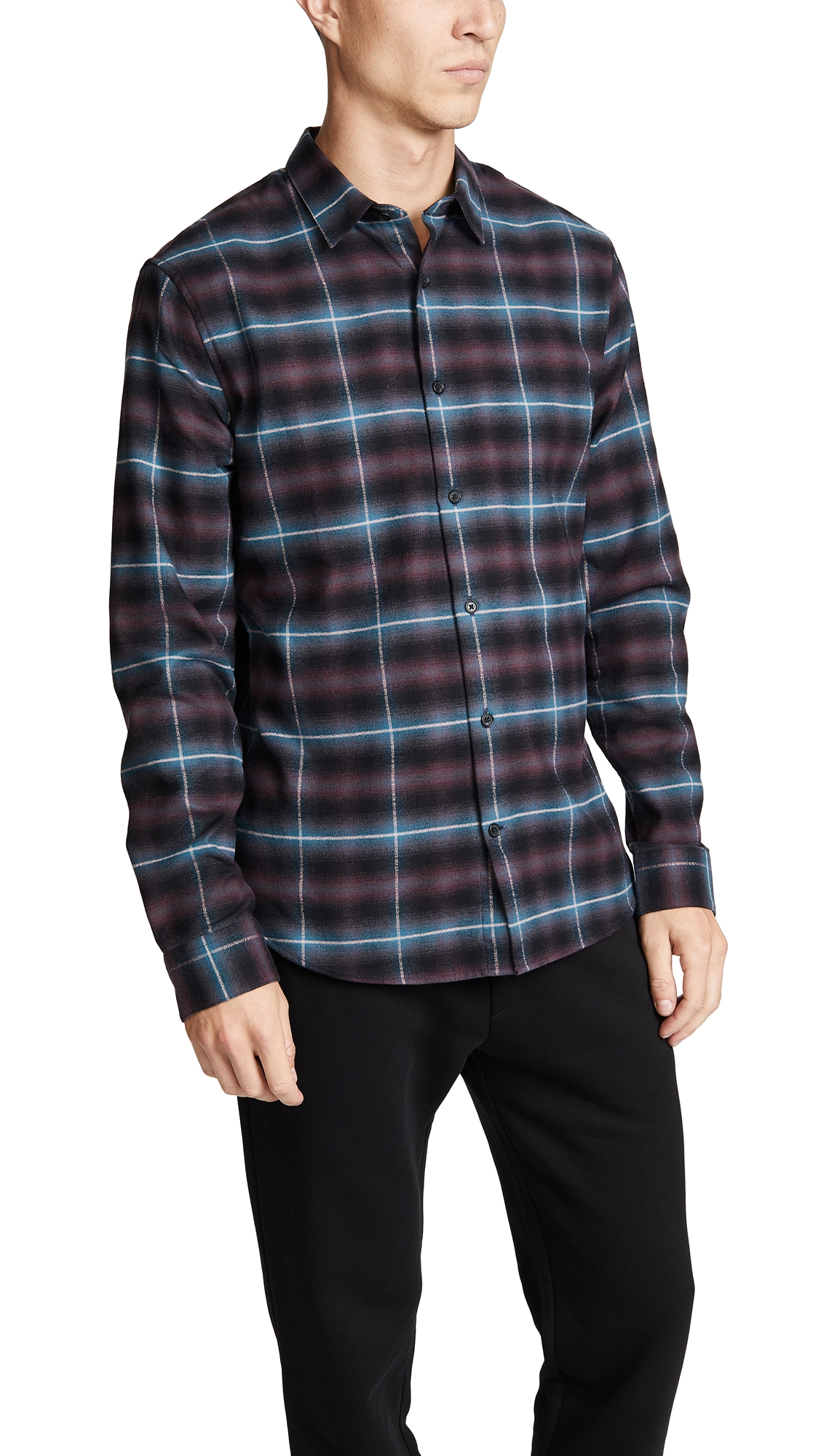 VINCE SHADOW PLAID LONG SLEEVE SHIRT