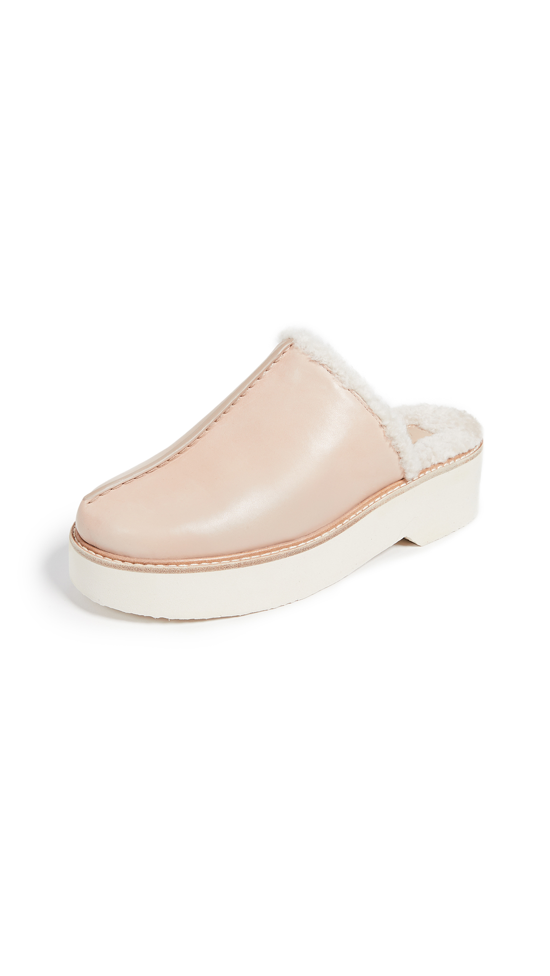 Adler Genuine Shearling Lined Platform Mule in Putty