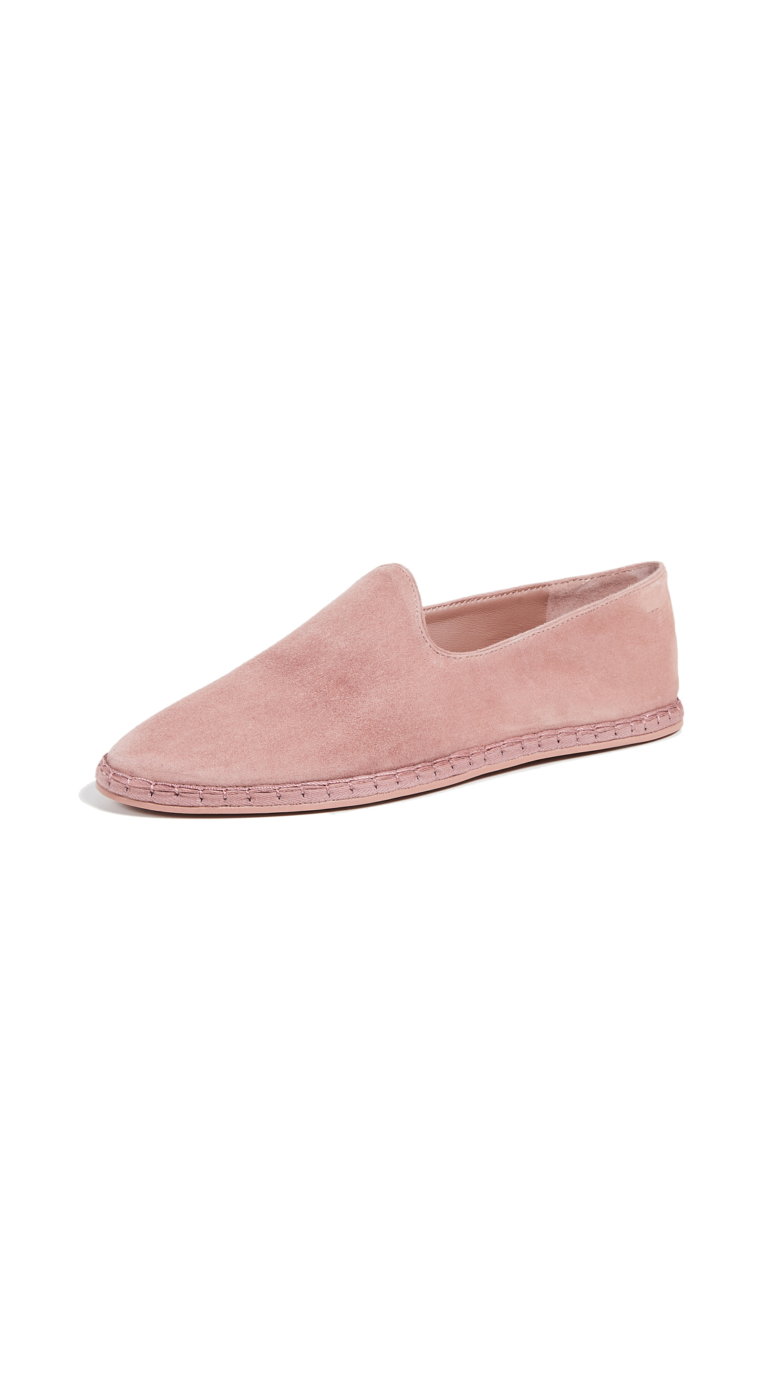 Malia Flat Suede Espadrille Loafers in Antique Rose