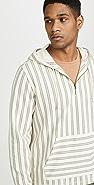 Vince Stripe Half Zip Pullover Hoodie