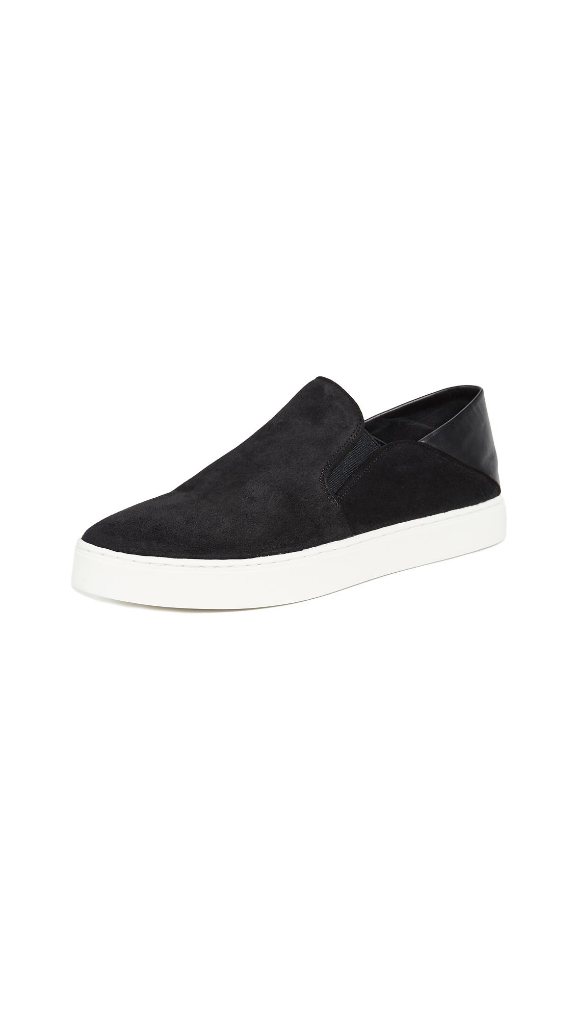 VINCE Women'S Garvey Round Toe Slip-On Suede & Leather Sneakers in Black