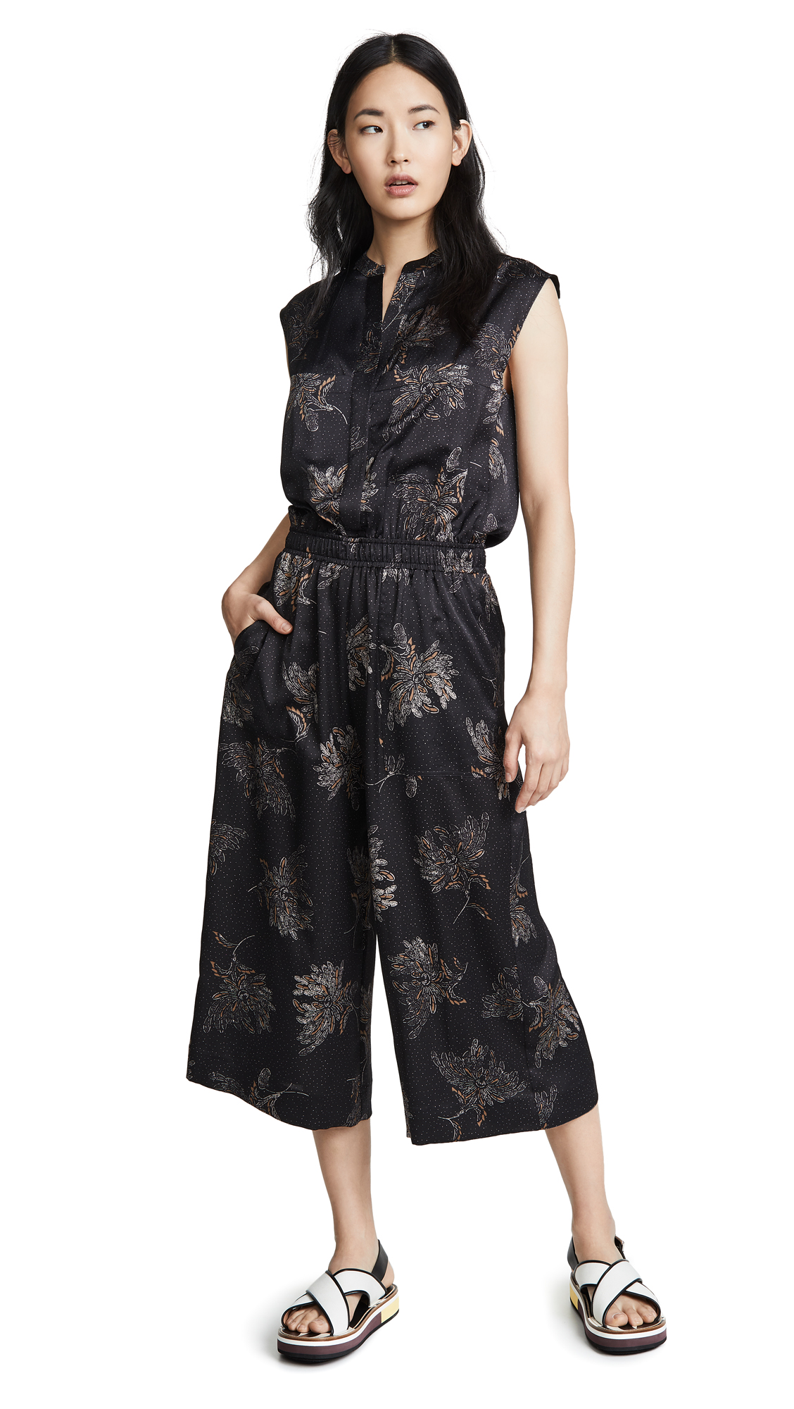 Buy Vince online - photo of Vince Woodblock Floral Sleeveless Jumpsuit