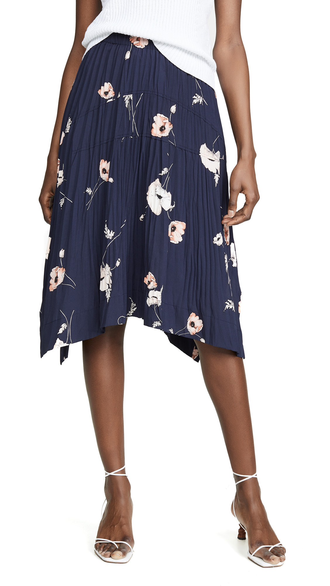 VINCE CAMUTO | Vince Tossed Poppy Pleated Skirt | Goxip