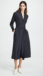 Vince Bold Stripe Belted V-Neck Dress