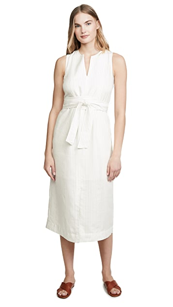 Vince Pencil Stripe Belted Sleeveless Dress