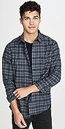 Vince Shadow Plaid Long Sleeve Flannel Shirt
