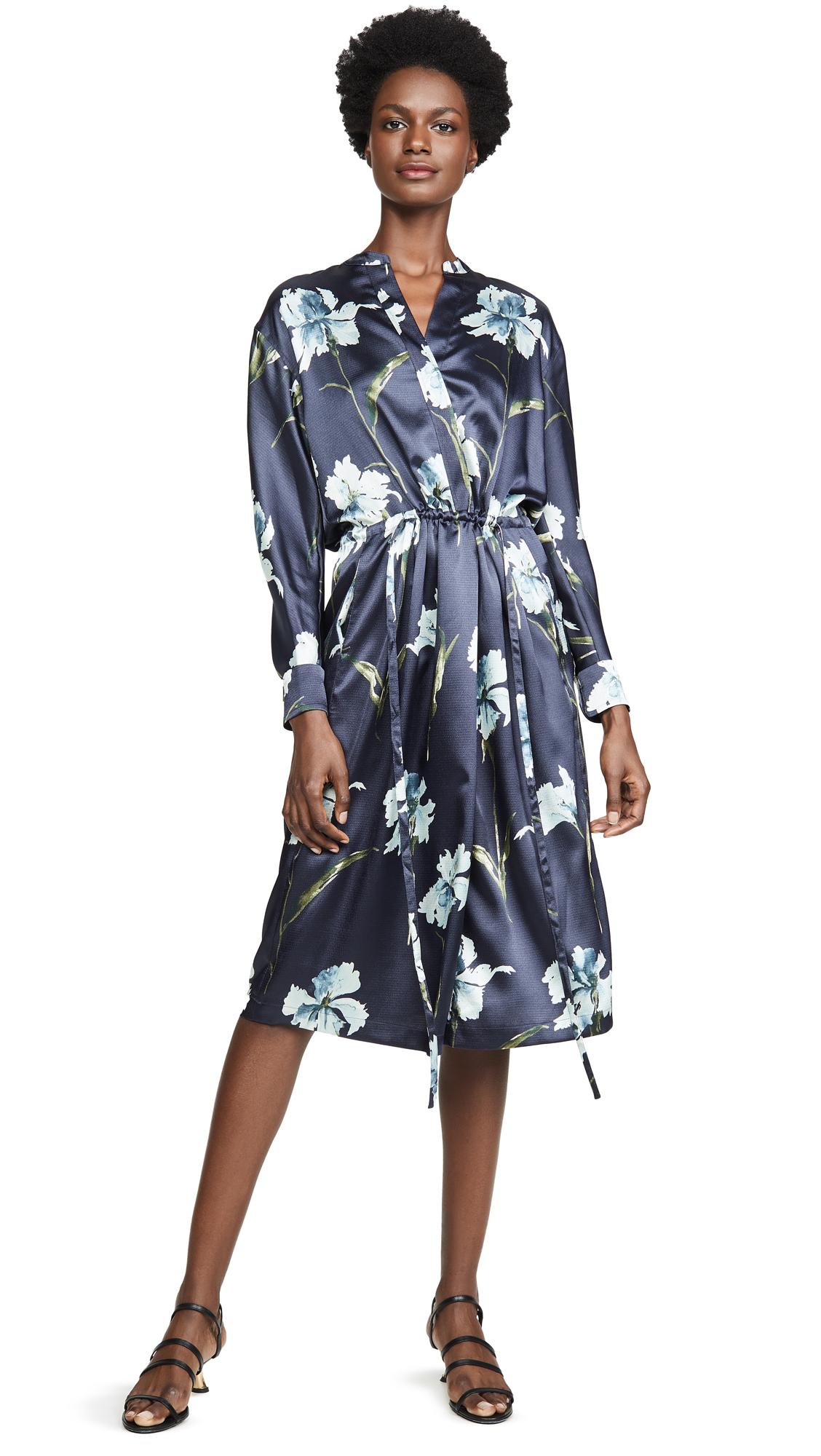Vince Iris Print Satin Dress – 70% Off Sale