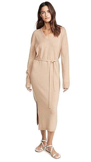 Vince V Neck Slit Dress