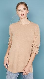 Vince Кашемировый свитер-туника с округлым вырезом
