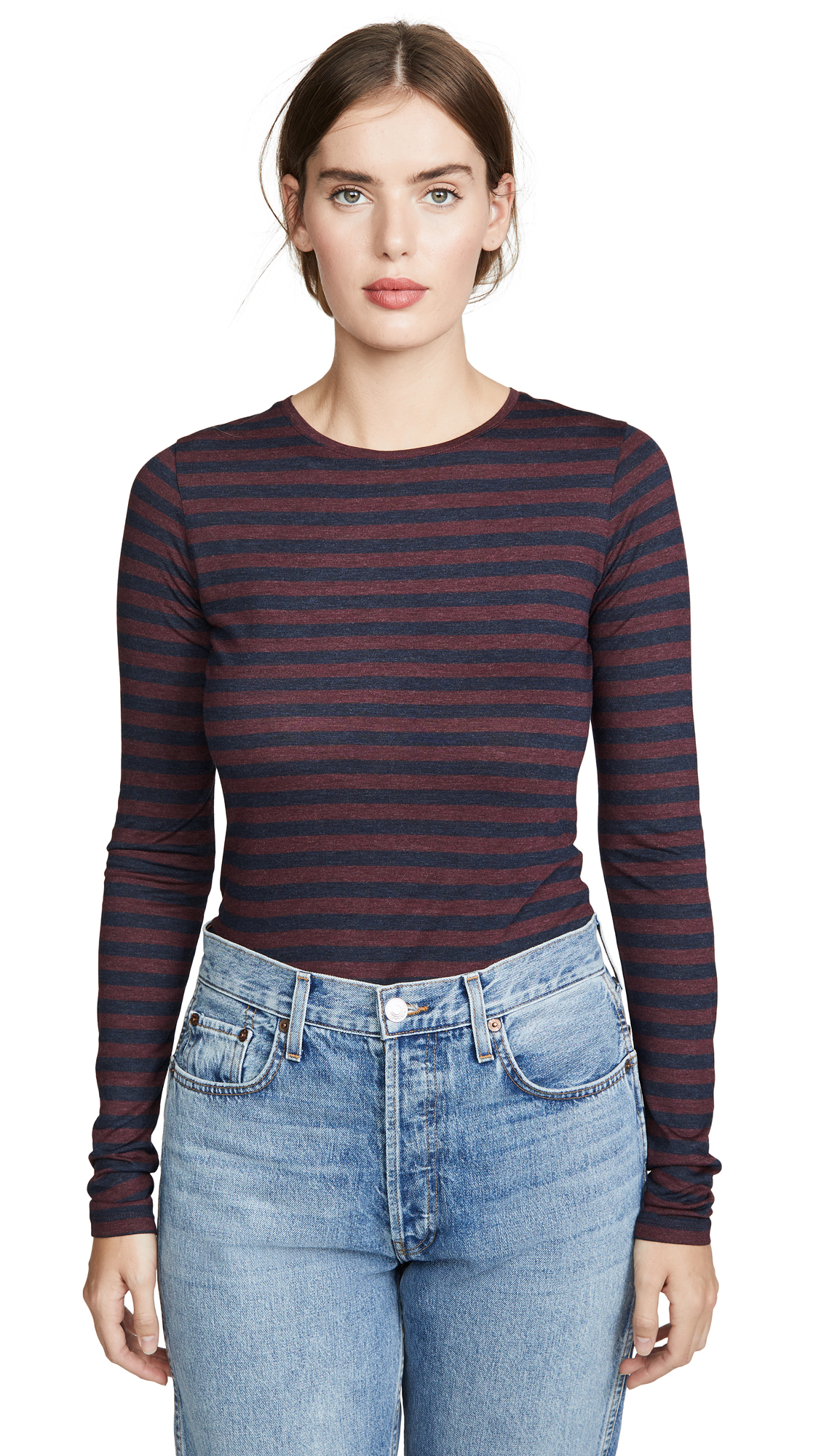 Buy Vince online - photo of Vince Heather Stripe Long Sleeve Crew