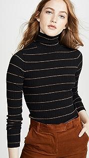 Vince 条纹罗纹高领毛衣