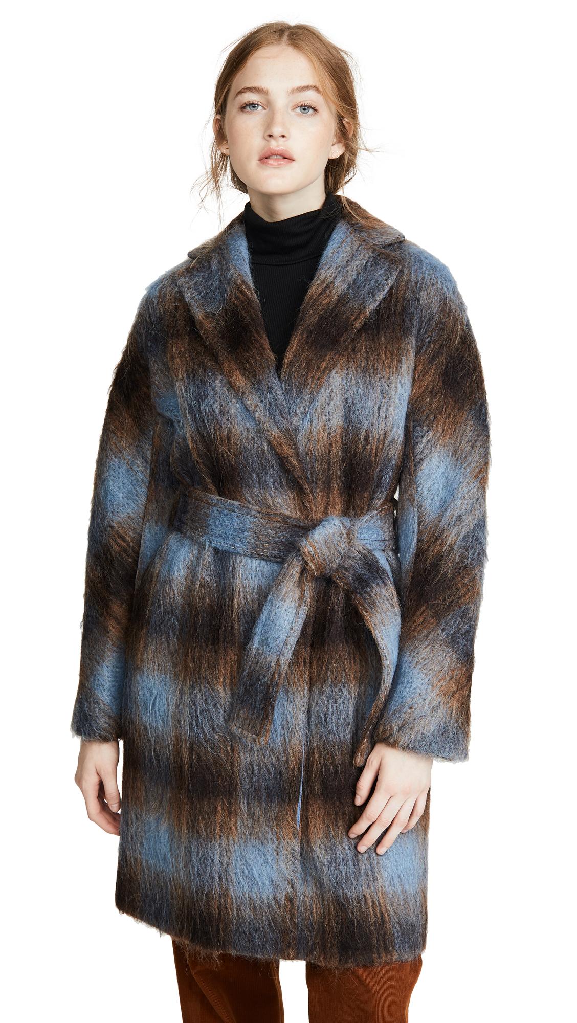 Buy Vince online - photo of Vince Belted Plaid Coat