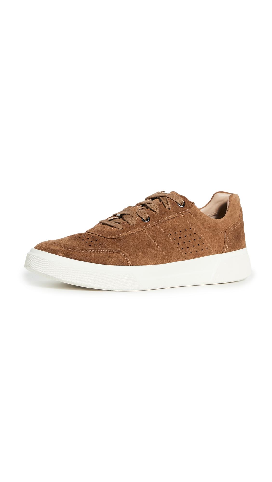 Vince Men's Barnett Perforated Suede Low-top Sneakers In Tobacco