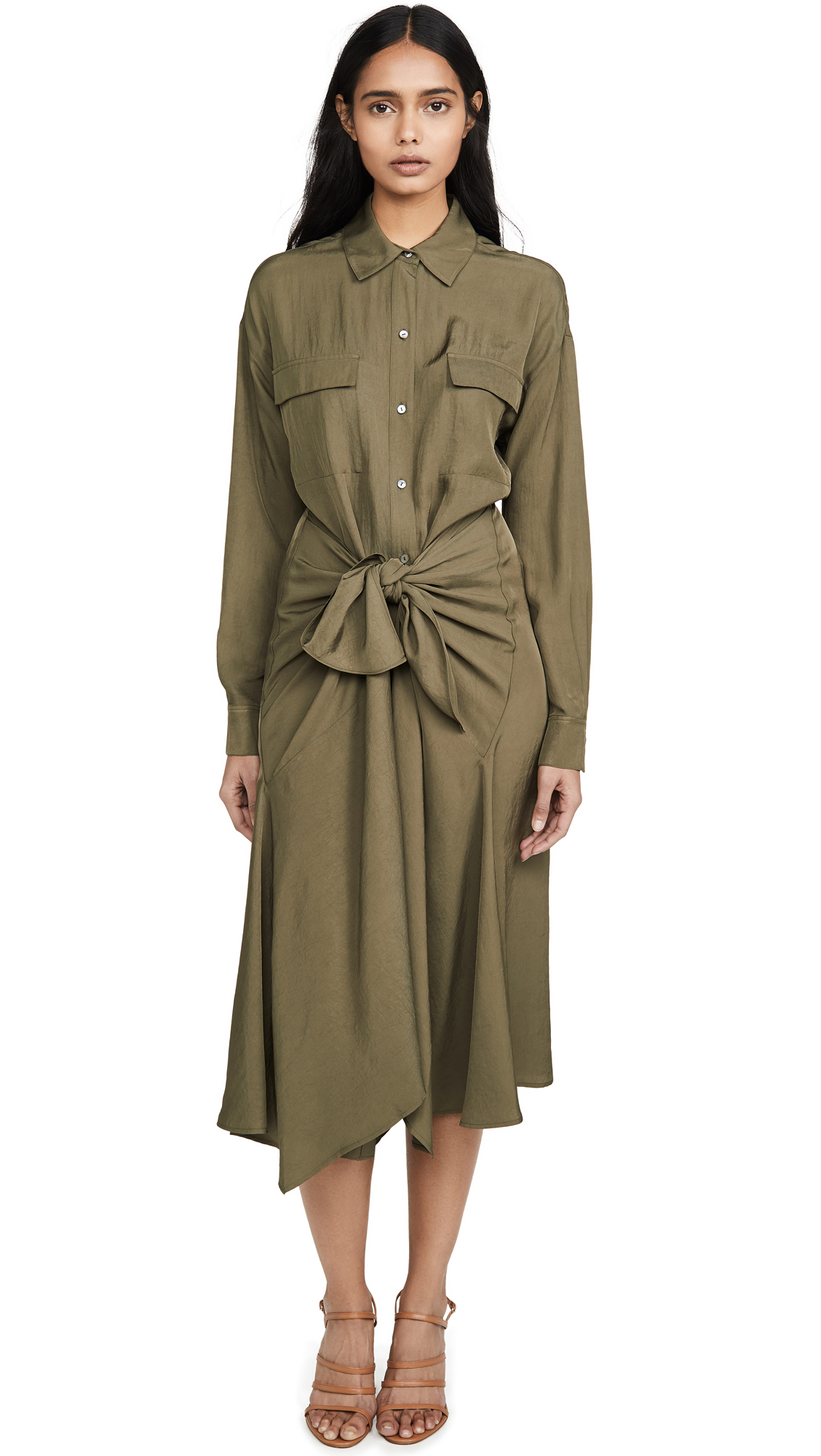 Buy Vince online - photo of Vince Tie Front Shirtdress