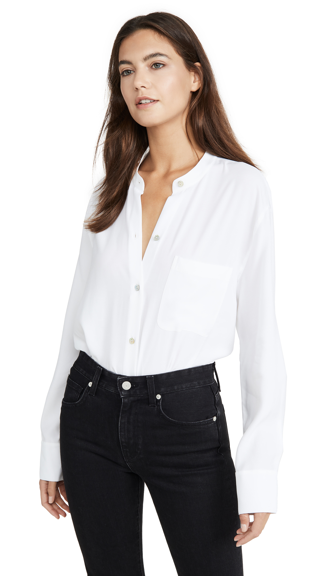 Buy Vince online - photo of Vince Relaxed Band Collar Blouse