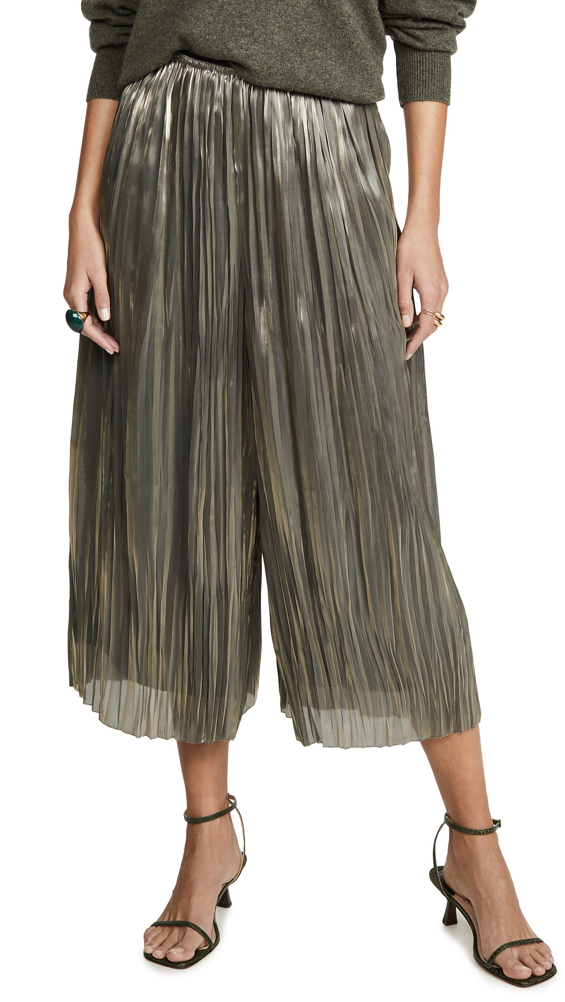 Buy Vince online - photo of Vince Iridescent Pleated Culottes