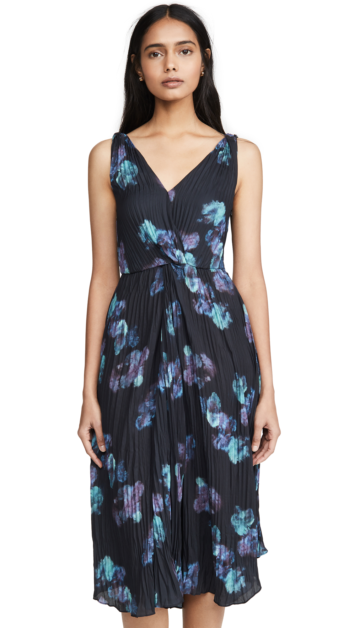 Buy Vince online - photo of Vince Painted Floral Twist Front Dress