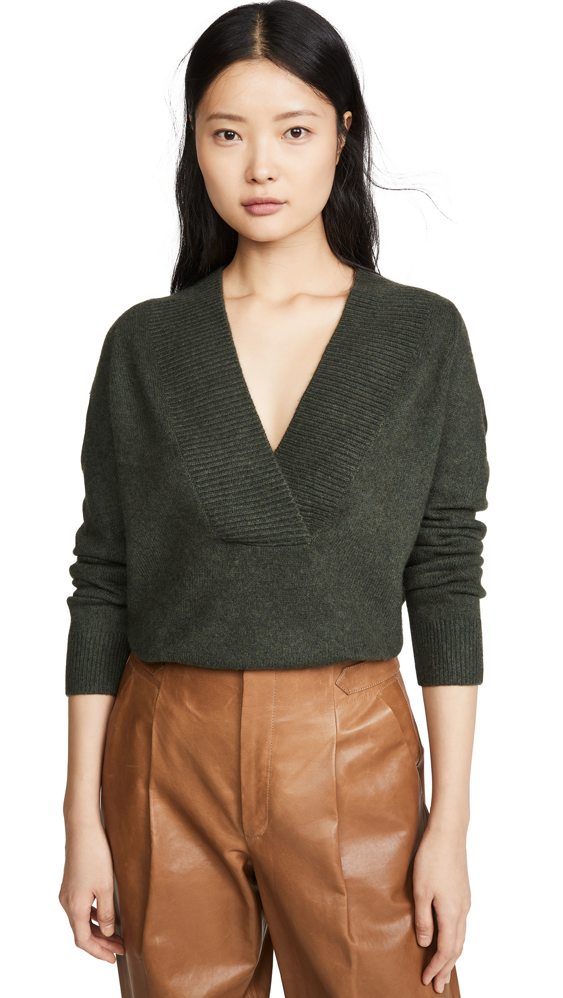 Buy Vince online - photo of Vince Ribbed Shawl Collar Tunic