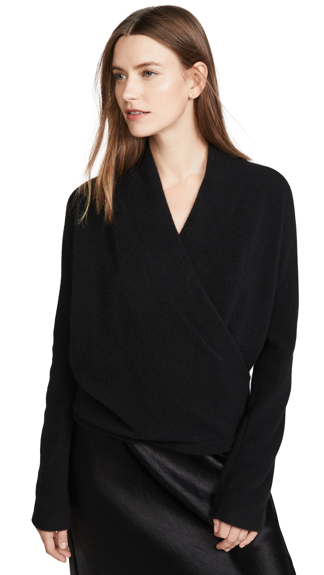 Buy Vince online - photo of Vince Wrap Front Cashmere Pullover