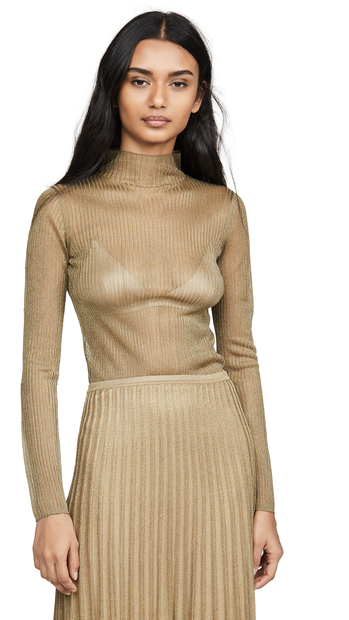 Buy Vince online - photo of Vince Metallic Ribbed Mock Neck Sweater