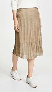 Vince Pleated Metallic Skirt