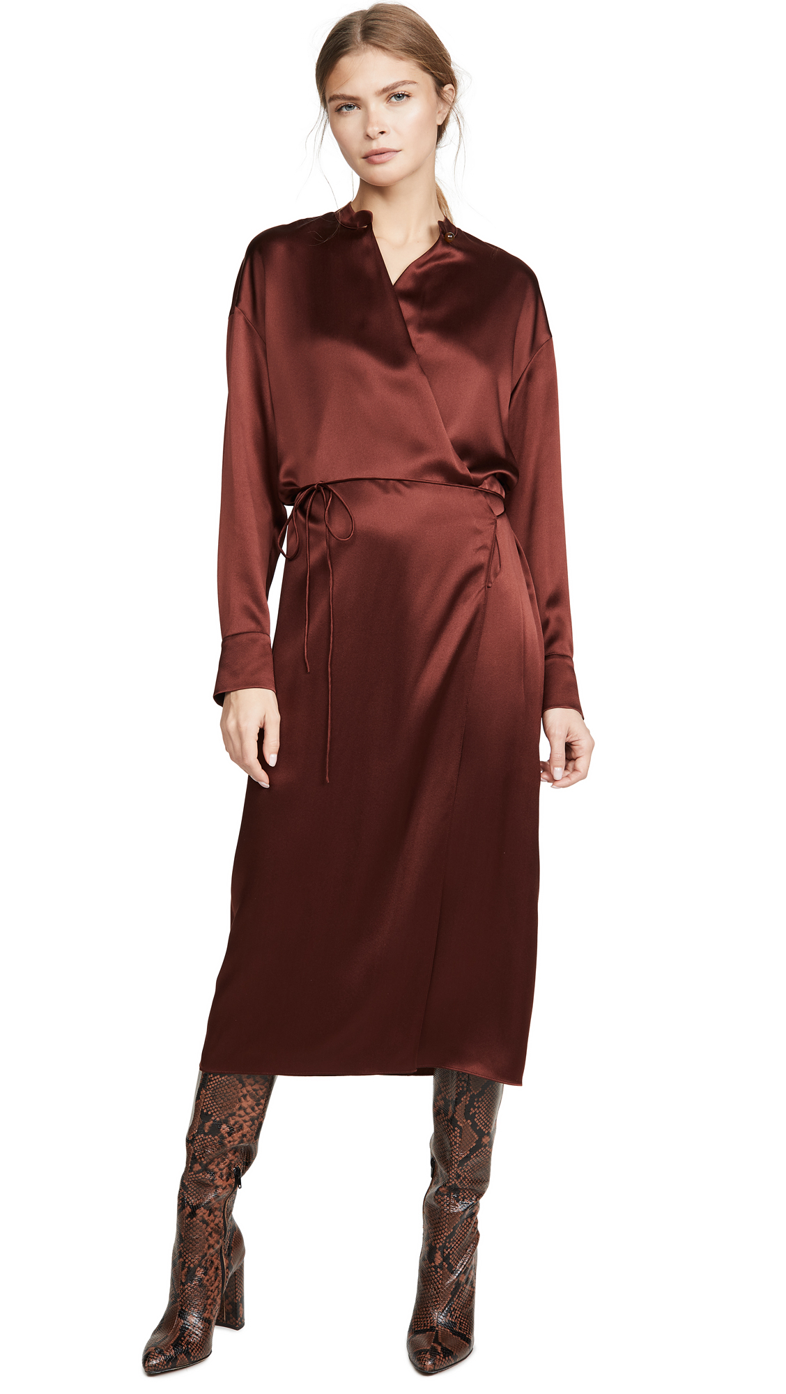 Buy Vince online - photo of Vince Long Sleeve Wrap Dress