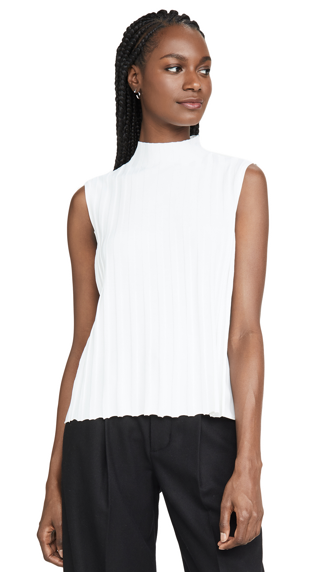 Buy Vince online - photo of Vince Mixed Rib Sleeveless Turtleneck